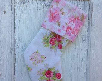 40% FLASH SALE- Vintage Floral Stocking -Christmas Stocking-Upcycled Bed Linens