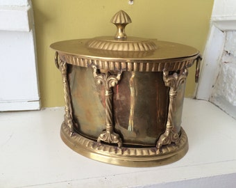 Large Brass Drum Trinket Box / Hinged Brass Box / Carousel