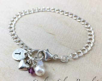 Sterling Silver Heart Charm Bracelet Personalized With Initial Charm And Birthstone, Heart Charm Jewelry