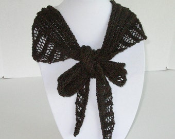 Chocolate Brown Cotton Summer Scarf, Knit Brown Lace Scarflette, Summer Shawlette