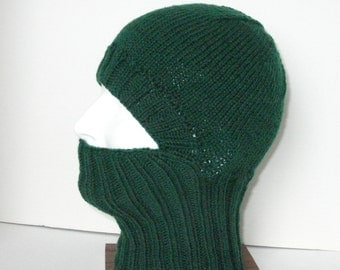Green Knit Helmet Liner, Balaclava, or Ski Mask