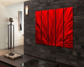 Extra Large Indoor Outdoor Modern Metal Wall Art Painting, Red Multi Panel Wall Art, Abstract Wall Sculpture - Red Plumage Epic by Jon allen