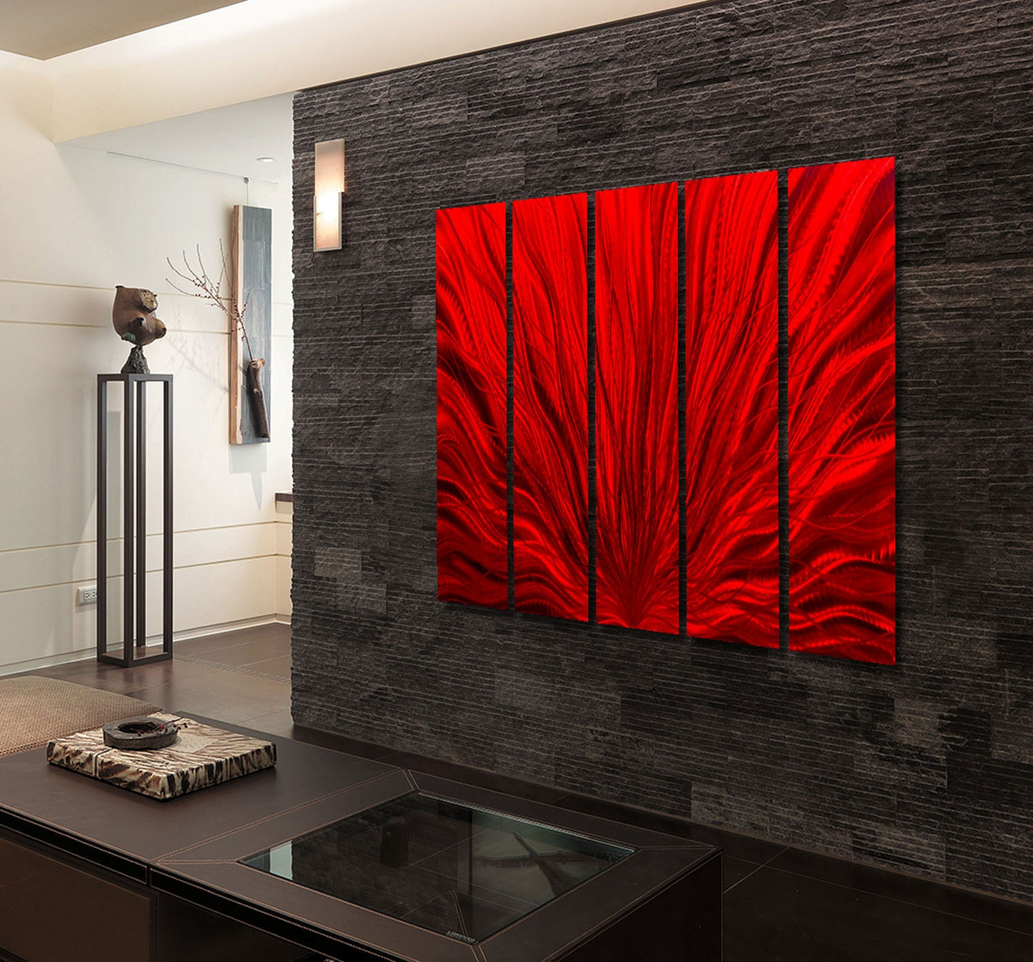 Extra Large Indoor Outdoor Modern Metal Wall Art Painting Red