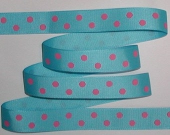 Turquoise Grosgrain Ribbon With Bright French Pink Polka Dot Dots 12 + yards 7/8 wide