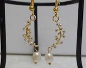 Freshwater Pearl Gold Branch earrings