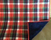 Navy and Orange PLAID flannel minky backed baby blanket