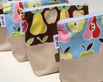 LUNCH SNACK BAG-Eco-Friendly-Reusable Zipper Bag-Lunch Sandwich Snack Bag-Toiletry Bag-Cord +Charger Pouch-Cotton + Twill Gusset Bottom