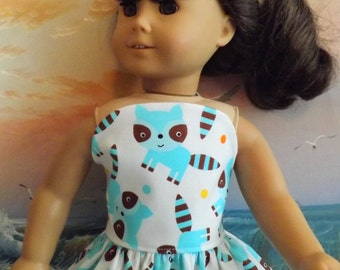 American Girl Doll Dress Handmade Woodland Foxes Strapless Medley NEW