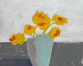 flower painting, bright yellow, yellow flowers, yellow and grey  original painting pamela munger