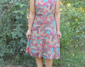 70s Egyptian Print Babydoll Dress | Small S | Egypt Revival | Goddess | Vintage VTG
