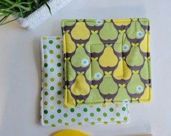 Two Pear Hot Pads - Set of Two Green Yellow Pear Hot pads - Modern Fruit Hot Pads - Wedding Gift - Set of Two Hot Pads