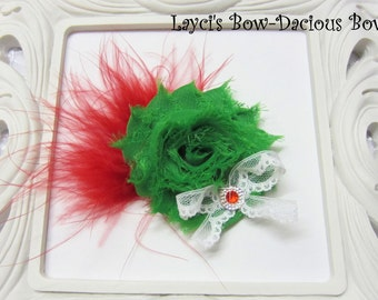 Christmas {Ellie} Flower Hair Clip, flower clip, shabby flower, red and green flower, more colors available
