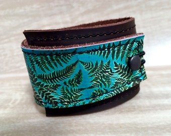 Leather Cuff Wrap Women's Bracelet, Vintage Fern Digital Photo Print on 100% Genuine Leather * SALE * Coupon Codes