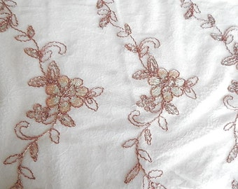 Peach sequinned beaded fabric, embroidered fabric