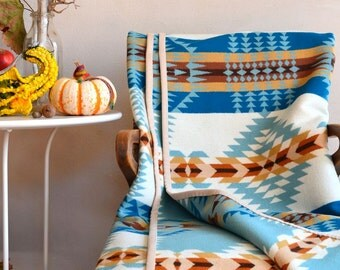 Wool Blanket Native American Design in Aqua Blue White & Brown