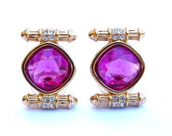 Halo Stud Earrings Diamond Pink Swarovski Crystal by Swan Pierced Earrings Gift for her