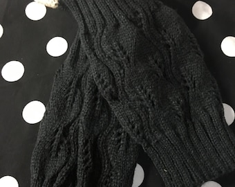 Charcoal Grey Crocheted  Lace Cuffed Boot Socks~Boot Cuffs~Kniited Boot Cuffs~Monogrammed Boot Cuffs