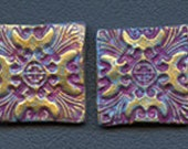 Lot of 4  Polymer  clay Textured  Undrilled  Cabs or Tiles  Plum TLSP 4