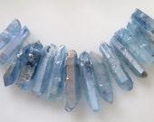 Blue Aurora Borealis Quartz Raw Chunky Crystal Point Beads Avg Large Size 20mm-35mm - 11 pcs