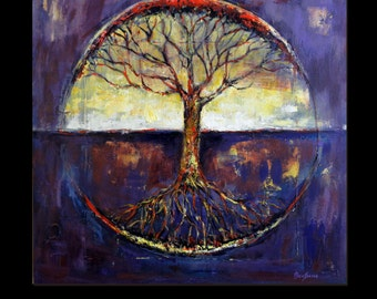 Abstract Tree Oil Painting ORIGINAL Art -  Tree of Life - Modern Painting Tree Art - 30x30 Original Artwork by BenWill