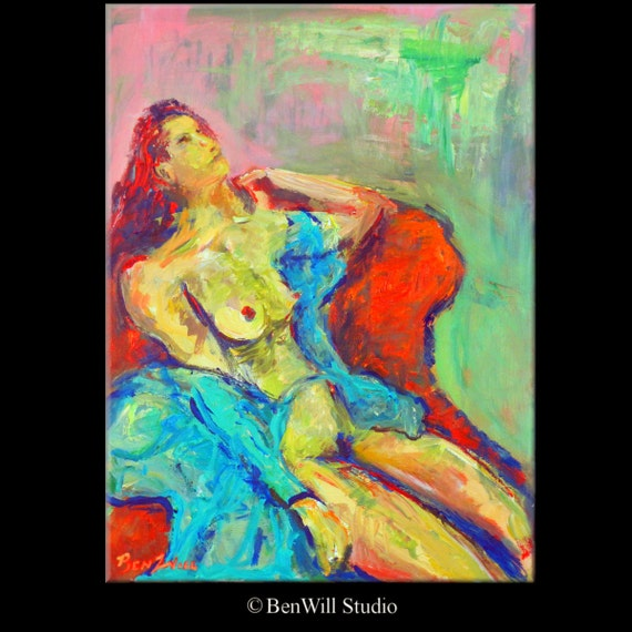 ORIGINAL Expressionism Abstract Realism Art Oil Painting Female Nude Figure - 24x18 by BenWill