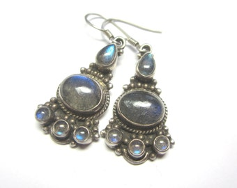 Labradorite Sterling Silver Chandelier Earrings.  Labraodite Earrings. Bali Style Labraodite Earrings,  Under 50.