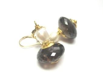 25% SALE Smoky Quartz AAA and Freshwater Pearl Earrings.  Gemstone Earrings.