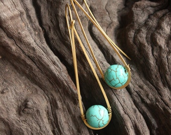 Blue Turquoise Simple Drop Earrings (ce0181)