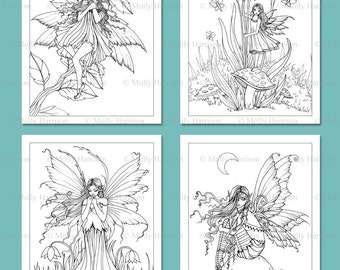 PRINTABLE Fairies Set 5 - 4 Fairy Illustrations - Adult Coloring Pages - Molly Harrison Fairy, Faery, Flower Fairy, Fantasy Art