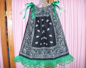 Black with Green Lace Toddler Dress or Girl's Tunic Top ONE SIZE Fits All from 18 months to girl's 10