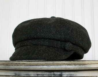 Newsboy Cap, Black Plaid Wool, Womens Newsboy Hat, Womens Caps - Made To Order