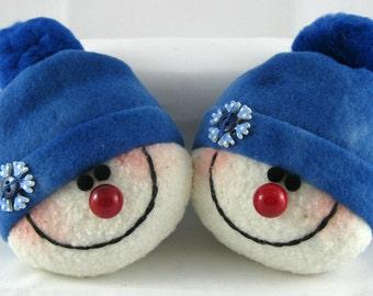 Handmade Snowman Ornaments, Christmas Decoration, Set of 2 Snowman Decorations, Stuffed Snowhead, Christmas Ornaments, Tie Dye Blue Fleece