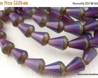 25% OFF Summer Sale Czech Teardrop Bead - Faceted Drop Milky Amethyst Picasso Beads - 15 Beads