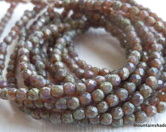 2mm Czech Beads - Czech Glass Beads Fire Polished Faceted Glass Round - Milky Amethyst Picasso - 50 Beads (G - 292)