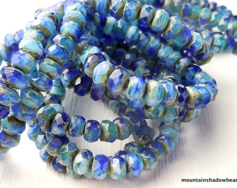 Picasso Czech Glass Beads Czech Rondelle Beads 3x5mm Blue Picasso - 30 pcs (G - 176)