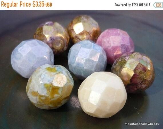 25% OFF Summer Sale Czech Glass Beads - 12mm Opaque Luster Mix Strand 8