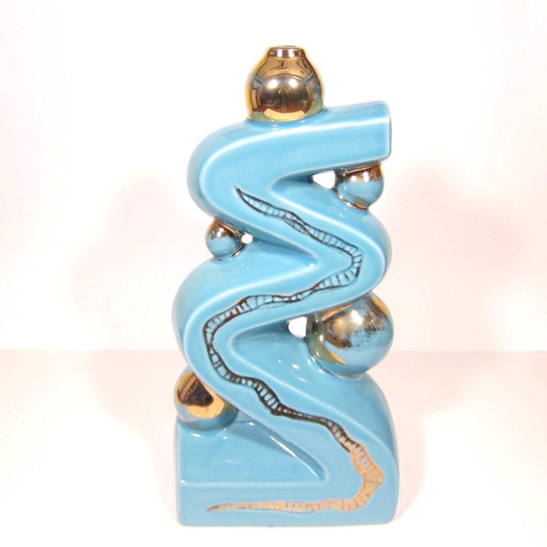 Mid century lamp base atomic blue glazed ceramic gold paint for Ceramic based paint