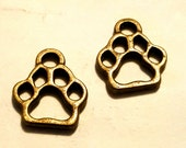 Bronze Paw Print - 50 pc - Bronze Paw Charm - Bronze Dog Charm - Bronze Cat Charm - Animal Charm -  Dog Paw Charm - Cat Paw Charm