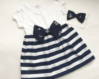 Nautical.. Anchor style blue and white striped sailor DRESS---girls clothing...
