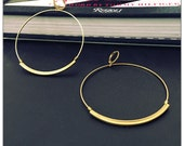 Lightweight Brass Circle Hoop Earrings - Statement Earrings - Oversized - Large Hoop Earrings - minimalist