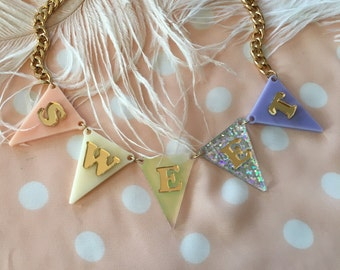 SWEET Pastel Bunting Necklace
