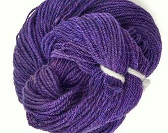 Wool and Alpaca Yarn, Purple Hand dyed Yarn to Knit, Crochet, or Weave, 3 ply, 250 yards