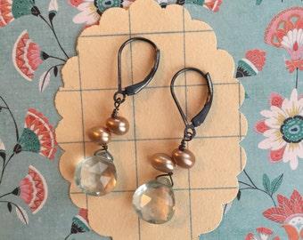 taylor earrings - pearl sterling gemstone