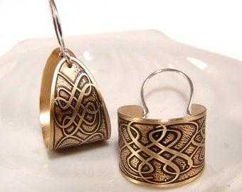 Scroll designed Hoop Earrings Etched