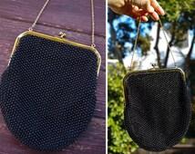 CORDE Bead 1960's Vintage Black Beaded Purse with Gold Frame + Chain // Small Handbag
