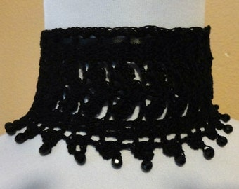 Black Lace Crochet Beaded Choker Necklace Victorian Steampunk Gothic Noir Mourning
