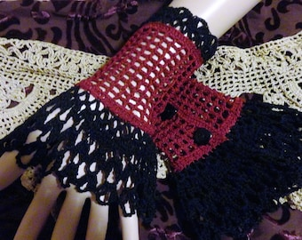 Black Burgundy Two Toned Victorian Mourning Steampunk Gothic Noir Crochet Lace Wrist Cuffs