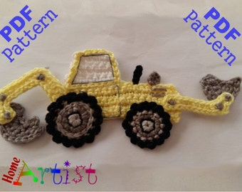 Backhoe crochet Applique Pattern