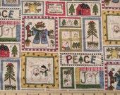 Fat Quarter primitif paix amour joie bonhomme de neige pin arbres oiseaux et nichoirs tricheur Patchwork Quilt tissu fantaisie - Linda Stubbs - POO