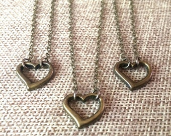 Tiny Heart Necklace / Bronze Heart Necklace on Thin Bronze Cable Chain /  Bohemian Necklace / Layering Jewelry / Minimalist Jewelry
